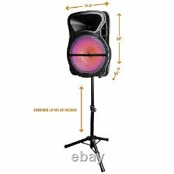 Trexonic 15 Portable Rechargeable Bluetooth PA DJ Party Speaker & Tripod Stand