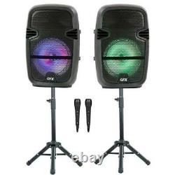 Twin 8-in Wireless House Party Speakers Bundle with Stands and Two Micro
