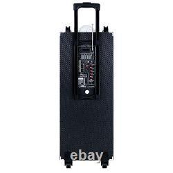 102in Hifi Powered Portable Party Bluetooth Haut-parleur Rechargeable Roues À Distance