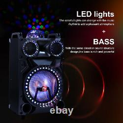12 Bluetooth Portable Party Pa Dj Speaker Heavy Bass Subwoofer Lights MIC Aux