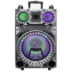12 Portable Bluetooth Pa Dj Party Speaker Lumières Batterie Rechargeable Usb MIC