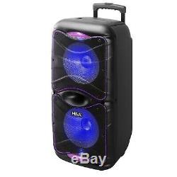 12x2 Pouces Rechargeable Bluetooth Haut-parleur Portable Pour Partie Avec Micro Sans Fil