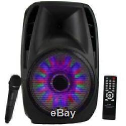 15 5000w Bluetooth Tailgate Pa Haut-parleur Dj Party Lumières Télécommande MIC Noir