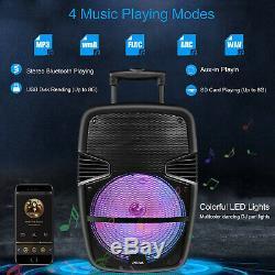 15 Pa Dj Party Karaoke Caisson De Grave Enceinte Système Audio Avec Feux MIC & A Distance