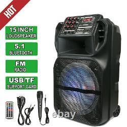 15 Portable Bluetooth Haut-parleur Subwoofer Heavy Bass Party Dj System MIC Aux Fm