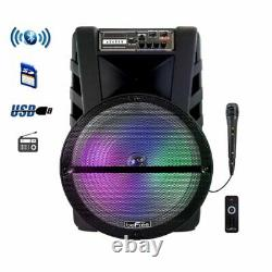 15 Portable Bluetooth Pa Dj Party Speaker Lights Usb Rechargeable Battery MIC