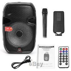 15 '' Système De Haut-parleurs Dj Karaoke Party Pa Portable Support Bluetooth / Usb / Micro Et Trépied