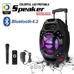 18 Système De Haut-parleurs Dj Karaoke Party Pa Bluetooth Portable Avec MIC Sans Fil Us