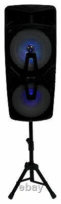 2 Technical Pro Dual 8 Wireless Rechargeable Backyard Dj Party Speakers + Mics
