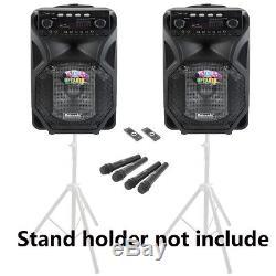 2pcs 12 '' Portable Pa Haut-parleur Bluetooth Karaoke Camping En Plein Air Fête Lumières