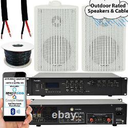 400w Loud Outdoor Bluetooth System 2x White Speaker Musique De Jardin Imperméable