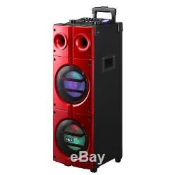 8x2 Pouces Bluetooth Aux Usb Sd Fm Dj Enceinte Portable Pour Party Aimant Tweeter