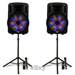 Acoustique Audio Rechargeable 15 Haut-parleurs Bluetooth Party Avec Des Lumières Mics Et Supports