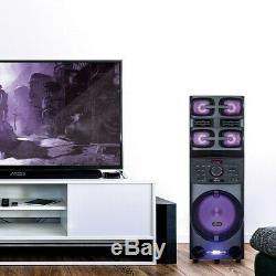 Axess Pabt6027 12 Haut-parleur De Fête Rechargeable + Bluetooth + Usb / Aux / Fm / Led + Micro