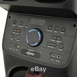 Axess Pabt6027 Portable Bluetooth Pa Party Speaker Lumières Led Disco Fm Watt 6400