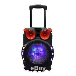 Axess Pabt6056 Président Bluetooth Chariot Pa Avec Party Lights Led 5000 Watt 12 Fm