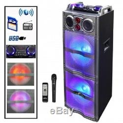 Befree Sounddouble Subwooferhaut-parleur Bluetooth Dj Pa Party Avec Éclairage, Micro, Usb