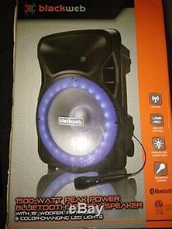 Blackweb Bwa17aa007 Haut-parleur De Fête Bluetooth 1500 Watts Noir Nouveau