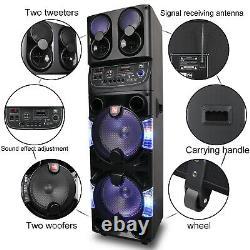 Bluetooth Haut-parleur Trolley Rechargable Dual 10 Woofer Party Fm Karaok Dj Led Aux