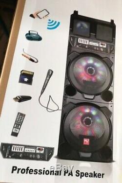 Bluetooth Party Dj Haut-parleur Double 15 Pouces Avec Égaliseur + Lumières + Wired MIC