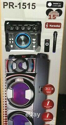 Bluetooth Party Dj Speaker Dual 15 Pouces Woofer + Equalizer + Lights + Wired MIC