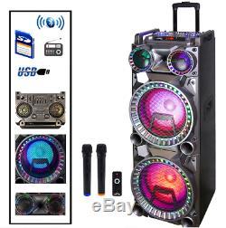 Bluetooth Portable Dj Party Haut-parleur Avec Party Lights 2 Microphones Sans Fil Nouveau