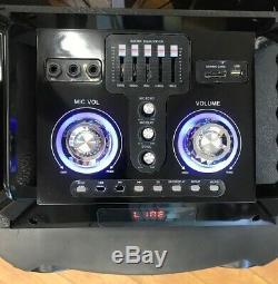 Bluetooth Rechargeable Party Dj Haut-parleur Double 12 Pouces Avec Lumières Led + Micro Filaire
