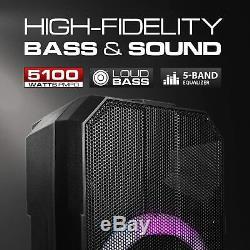 Dolphin 5100w 15 Party Rechargeable Speaker Utilisation En Tant Que Système De Sonorisation Portable Et Karaoké