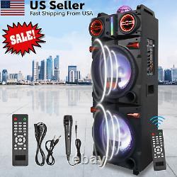 Double 10 Subwoofer Haut-parleur Bluetooth Portable Avec Lumières Led MIC Remote USA