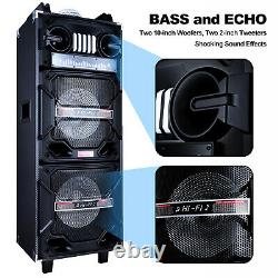 Dual 10'' Bluetooth Party Speaker Loud Heavy Bass Stereo Withmic Led Aux Remote