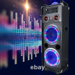 Dual 10 Portable Bluetooth Pa Dj Party Speaker Led Lights Karaoke Subwoofer Aux