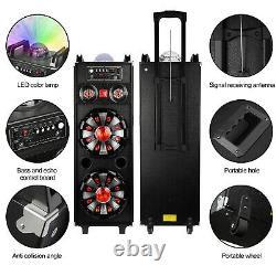 Dual 10 Subwoofer Portable Bluetooth Party Speaker Dj Pa Karaoke Led System MIC