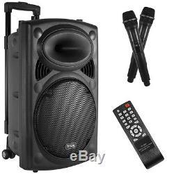Enceinte De Fête Bluetooth Karaoké Rechargeable Portable Avec 2 Microphones Fm / Radio Usb / Sd