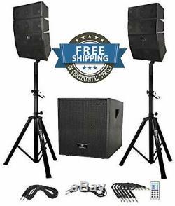 Enceinte De Sonorisation Stands Paire Système Bluetooth Outdoor Dance Party Microphone 12 Dans Set