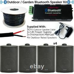 Garden Party Bbq Outdoor Speaker Kit Mini Stéréo Amp Et 4 Haut-parleurs Noirs Sans Fil
