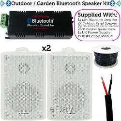 Garden Party / Bbq Outdoor Speaker Kitampli Stéréo Sans Fil Et 2 Haut-parleurs Blancs