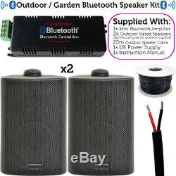 Garden Party / Bbq Outdoor Speaker Kitamplificateur Stéréo Sans Fil Mini Et 2 Haut-parleurs Noirs