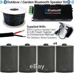 Garden Party / Kit D'enceintes Pour Barbecue En Plein Air Mini Amplificateur Stéréo Sans Fil Et 4 Haut-parleurs Noirs