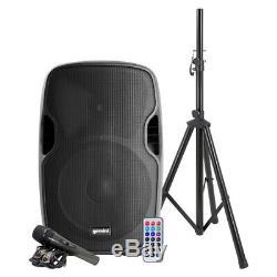 Gemini 2000w 15 Pouces Powered Bluetooth Party Dj Haut-parleur Avec Un Pied De Micro À Distance
