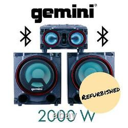Gemini Audio 2000 Watt Led Bluetooth Party Home Stereo System Speaker Remettre À Neuf