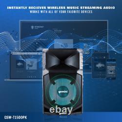 Gemini Dj Audio Portable Résistant À L'eau Sans Fil Bluetooth Party Speaker Set