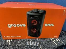Groove Onn 80w Haut-parleur De Grande Fête Avec Éclairage Led Noir. Bluetooth