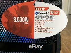 Haut-parleur Bluetooth Qfx Portable 8000 Watts P. M. P. O 12 Party Président Rechargeable