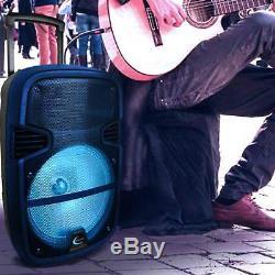 Haut-parleur De Fête Portable À Led Rechargeable Bleu Avec Bluetooth, Microphone Et Trépied
