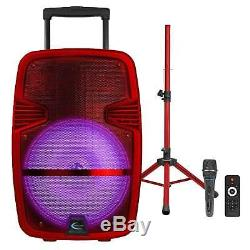 Haut-parleur De Fête Portable À Led Rechargeable Rouge Avec Bluetooth, Microphone Et Trépied