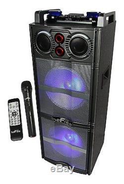 Haut-parleur Du Parti Bluetooth Dj Pa Double Subwoofer Sound Avec Micro MIC Usb