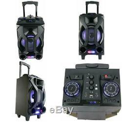 Haut-parleur Portable Rechargeable Usb Party Radio Fm Bluetooth Karaoké Led Haut-parleurs