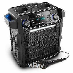 Haut-parleur Portatif Bluetooth Am Fm Radio Microphone Preuve De L'eau Dj Party Stéréo