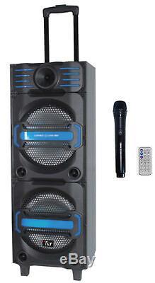 Haut-parleur Rechargeable Portable Dual Usb Bluetooth 10 Pouces Alimenté Par Usb Sd 2x10
