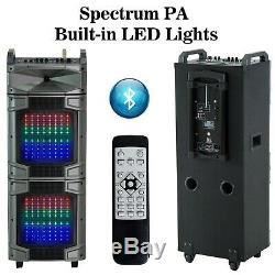 Hs-pa Lecteur De Musique Enceintes De Sono Dj Party Système Bluetooth MIC Lumières Led Usb Sd Fm